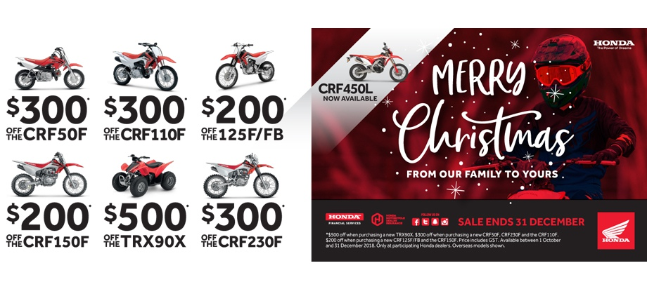 Honda Merry Christmas Specials on CRF50F, CRF110F,CRF150F,TRX90X,CRF230F,CRF450L
