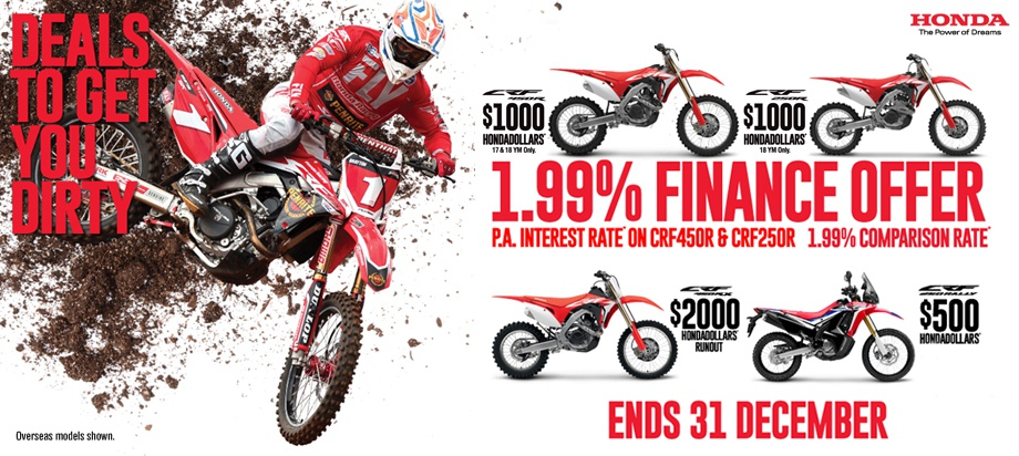Honda 1.99% Finance offer CRF450R CRF250R